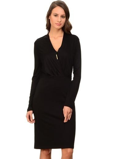 Fabrika Uzun Kollu V Yaka Kalem Elbise Siyah